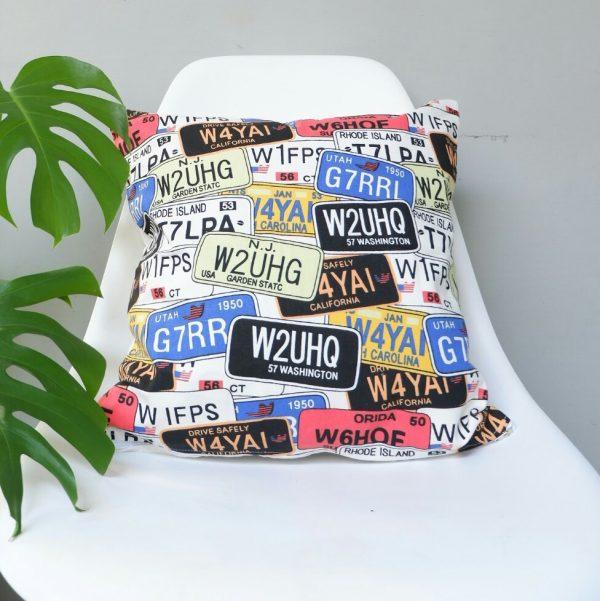 Cushion cover kanvas - Plat Nomor (sarung bantal/sarung bantal sofa/bantal hias) 1