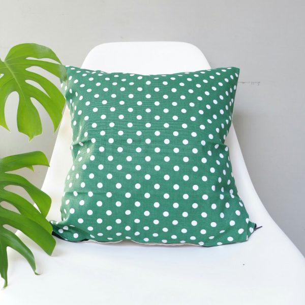 Cushion cover kanvas - Polkadot Hijau (sarung bantal/sarung bantal sofa/bantal hias) 1