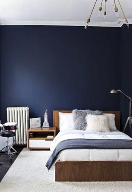 Warna biru merupakan cerminan warna yang menggambarkan ketenangan dan kenyamanan pada kamar tidur minimalis